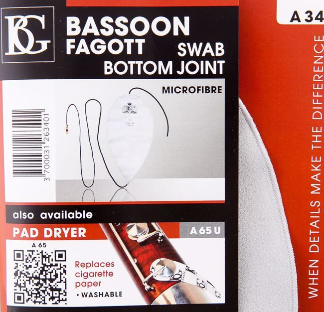 Bassoon Swab For Bottom Joint, BG, Microfiber